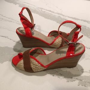 AGL Orange leather ankle strap wedges  5.5 Italy